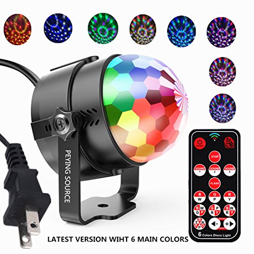 Disco Ball Lights Party Projector LED Magic Crystal Stage DJ Light Strobe 6 Colors Music Activated Remote Control Rotating Birthday Parties Pub Decoration Wedding Celebration KTV Bar(6 Colors)