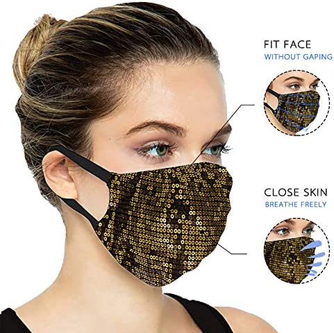 YUESUO 4 PCS Fashion Pretty Fabric Flower Face Mask Reusable Washable Adjustable Cotton for Adult Men Women Outdoor Sports