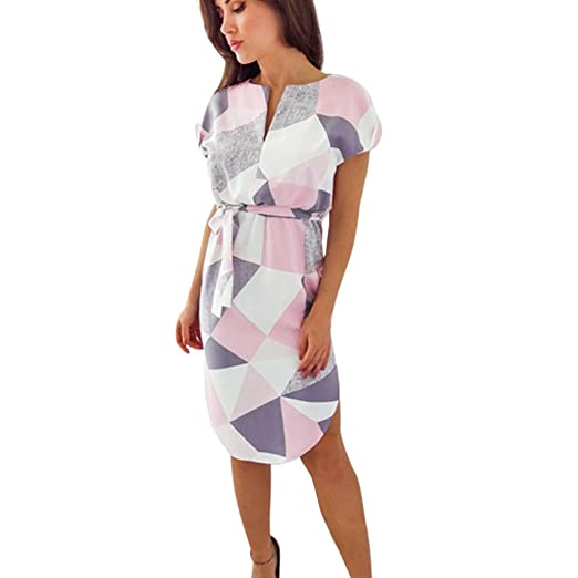 Teresamoon Hot Sale! Mini Dress Women Summer Short Sleeve Floral Print V Neck Dress (