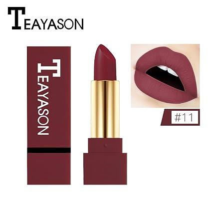 12 Farben Neue Mode nude Lippenstift matt, Huihong TEAYASON Wasserdicht Pigment Braun nude Lippenstift Lang Anhaltende Make u