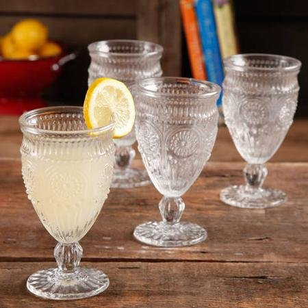 The Pioneer Woman Adeline Embossed 12-Ounce Footed Glass