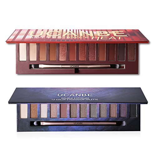 2X12Colors Matte Shimmer Eyeshadow Palette Long-lasting Waterproof Pigmented Eye shadow with and Double Ended Brush Makeup Set, 2 Eye Make-up Pallets