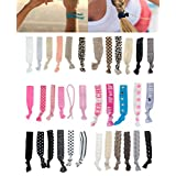 Great Value Quality Set of Hairstyling Accessories With 35 Elastic Nylon Hairbands / Hair Scrunchies / Ponytail Holders / Rubber Bands In Many Different Colours And Designs / Patterns By VAGA