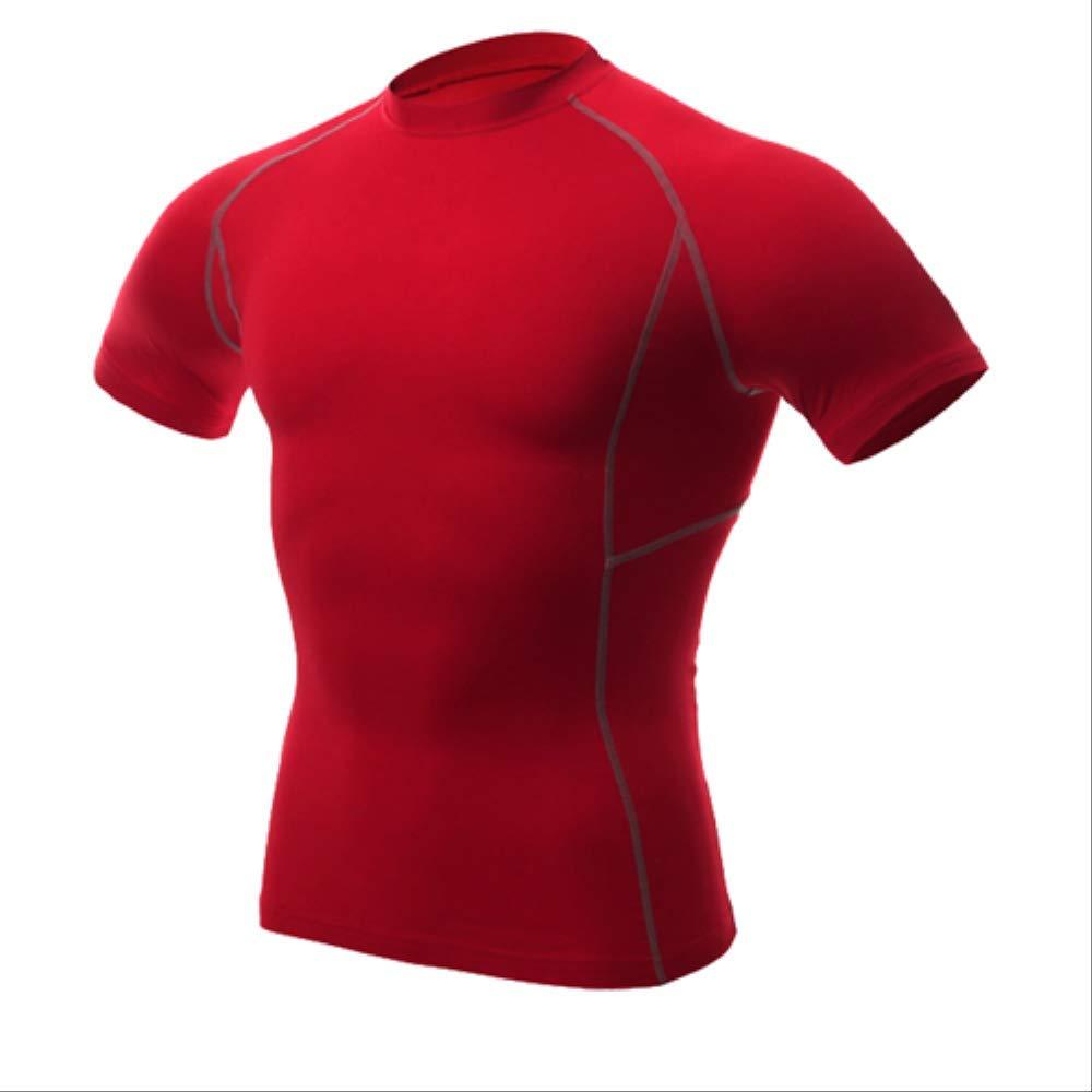 rouge S NUASH Séchage Rapide Hommes Compression Tennis Maillot Tight Fitness Gilet EntraîneHommest Courant T-Shirt Court Hommes VêteHommests de Sport