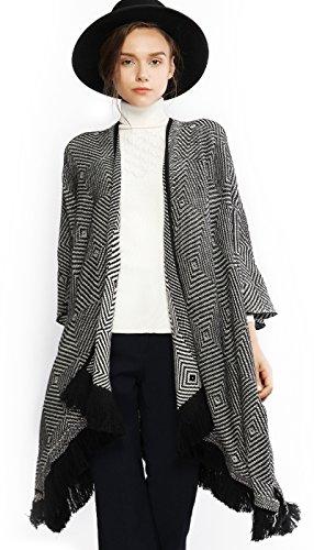 Arm Trim - Women Winter Warm Cardigan Poncho Cape Blanket Oversized Sweater Coat Cardigan Shawl Wrap Pashmina Black and White
