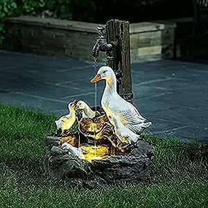 Resin Duck Water Fountain Statue - Animal Garden Statue with Solar Led Lights, 5.9''Solar Powered Garden Lights, Patio Fountain Outdoor Landscape Garden Art (1pc)