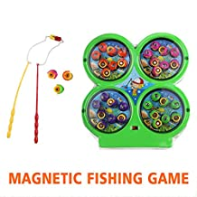 Fishing Game Board Set Fish Toy Shape Board with 32 Fishes 4 Fishing Rods and Educational Learning Best Gift for 3 Years Old Boys Girls Gifts