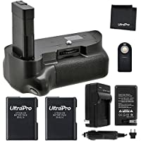 Battery Grip Bundle F/ Nikon D5100, D5200, D5300: Includes Vertical Battery Grip, 2-Pk EN-EL14 Long-Life Batteries, Charger, UltraPro Accessory Bundle