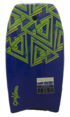 SurfGear Slick Hard Bottom Body Surfing Bodyboard – Heat Sealed for Maximum Durability (44 Inch, Blue/Green)