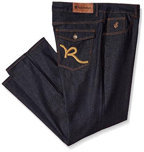 Rocawear Men's R Script Flap Jean, Raw Blue/Wheat, 44 ()