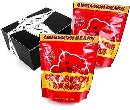 Sweet's Cinnamon Bears, 1 lb Bags in a BlackTie Box (Pack of 2) (Cinnamon Gift)