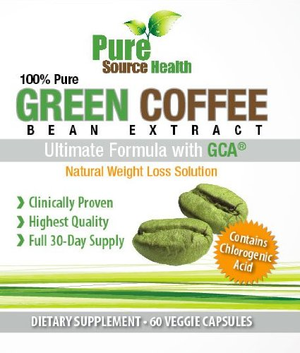 Pure Green Coffee Bean Extract 800mg with GCA - Best Clinically Proven Weight Loss GCA Green Coffee Bean Premium Extract Capsules - Natural Weight Loss Green Coffee Supplement, 60 Vegetable Capsules