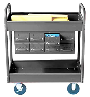 """Equipto 145-8-GY Combination Truck with 2 Trays, 500lbs Capacity, 11"""" Drawers, 30"""" L x 16"""" W x 36"""" H, Smooth Office Gray"""