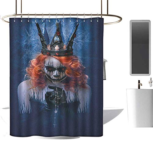 Hotel-Level Shower curtain36 x72 Queen,Queen of Death Scary Body Art Halloween Evil Face Bizarre Make Up Zombie Navy Blue Orange Black,Anti-Bacterial,Mildew Resisant Bathroom Curtain
