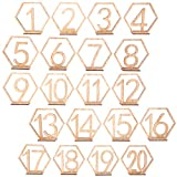 OULII 1-20 Hexagon Wooden Table Numbers with Holder Base for Wedding Birthday Engagement Decoration 20pcs