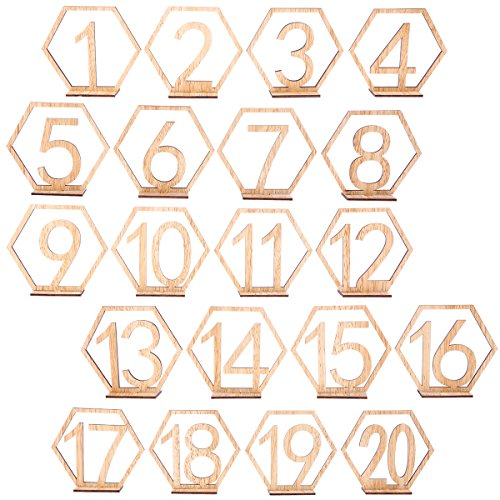 BESTOYARD 20pcs 1-20 Wooden Wedding Table Numbers with Holder Base Hexagon Table Numbers for Wedding Table ()