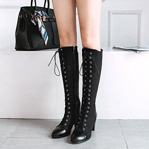 Eclair Pour Uh Et Talons Rond Avec Bottes Mode Chaud 2017 Moyenne Bloc Santiag Bout Chaussures La Femmes Lacet Noir Fermeture A L'hiver 8YqBw8Ur
