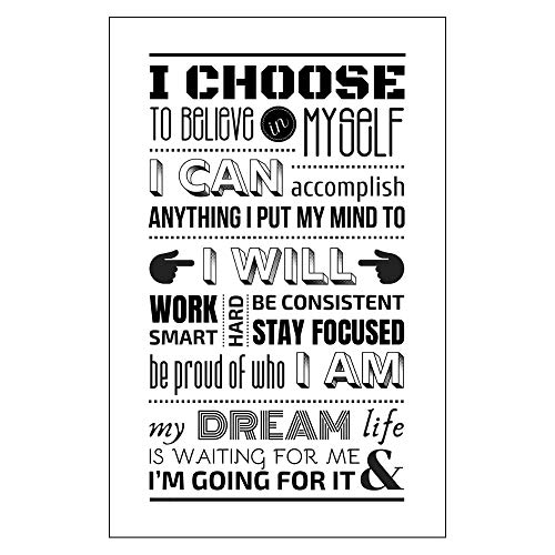 Daily Positive Affirmations Motivational Poster 11 x 17 Inspirational Words Typography Print Wall Decor Office Desk Locker Classroom Gym Cubicle College Dorm I Can I Will I Am Encouragement