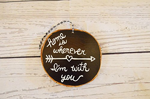 Wood Tree Ornament (Wood Tree Log Slice , Christmas Ornament , Home is Wherever I'm with You)