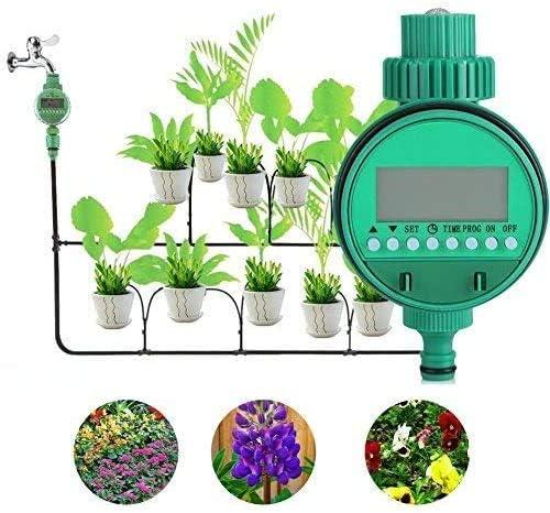 Temporizador de riego, contador de agua eléctrico y automático con sistema de control de riego y pantalla digital, para jardín, césped o patio: Amazon.es: Jardín