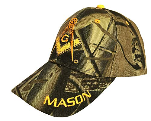 Freemason Mason Symbol Adjustable 3D Embroidery Baseball Cap Hat (Camo)