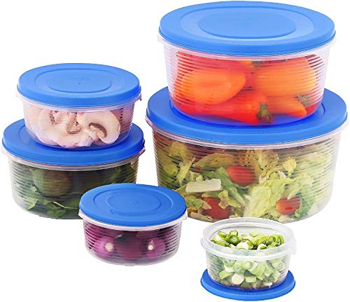 (Mixing Bowl Set with Lids; Kitchen Food Storage Containers, Plastic Airtight Nesting Stackable Meal Prep 12 Piece, 6 Bowls & 6 Covers; No Spill Leakproof Lightweight - for Baking, Salad, Picnic (Blue))