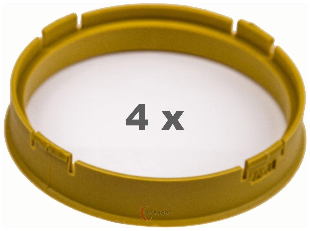 4/X Anello Di Centraggio in plastica 73.1/mm su 65.1/mm giallo
