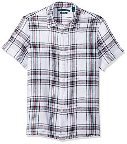 Perry Ellis Men's Linen Print Untucked Shirt, Cerulean/Dhw, Medium