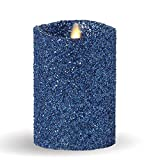 Luminara Vintage Glitter 5'' Flameless Pillar Candles w/Remote Blue