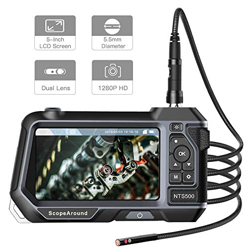 (Industrial Endoscope Dual Lens Borescope - ScopeAround 1280P HD Inspection Camera with 5 Inch Ultra Large LCD Screen, 5.5mm 3 Meter Waterproof Flexible Gooseneck, 3500mAh Battery, 6 LED Lights )