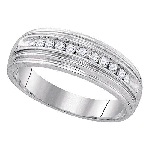 Sterling Silver Mens Round Diamond Wedding Band Anniversary Ring Channel Set Single Row Fancy 1/4 ctw Size (Mens Single Diamond Band)