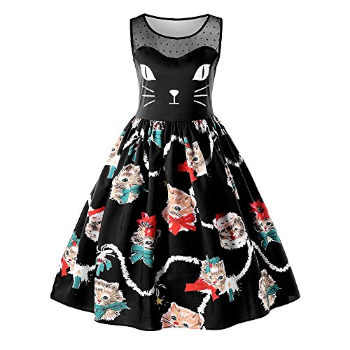 DEZZAL Women's Vintage Sleeveless Christmas Kitten Print Party Swing Dress (Black, M)