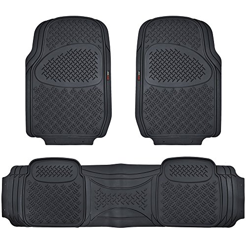 Motor Trend HD FlexTough Rubber Floor Mats for Car Truck SUV & Van - 100% Odorless & Super Heavy Duty (Black)