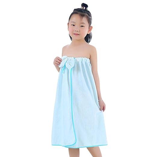 a13489a9c Amazon.com  Freahap Kids Bathrobe Girls Bath Towel Wrap Shower Skirt ...