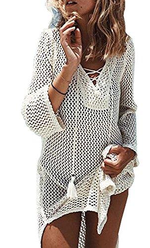 JOYEBUY Womens Beach Swimsuit Bathing Suit Cover Up Beach Bikini Swimsuit Swimwear Crochet Dress (Lace-up Beige, One Size) (Crochet For Swimsuits Women)