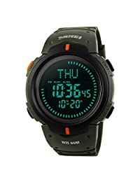 Men's Watch Sports Digital Survival Compass 50M Waterproof Stopwatch Alarm Wristwatch - Military Green