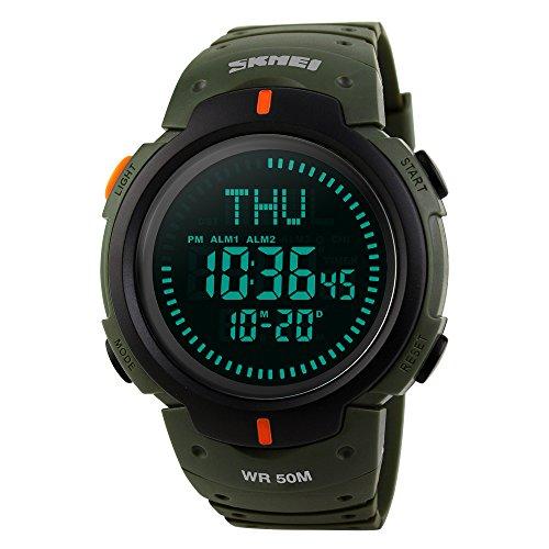 Men's Watch Sports Digital Survival Compass 50M Waterproof Stopwatch Alarm Wristwatch - Military (Digital Compass Wrist Watch)