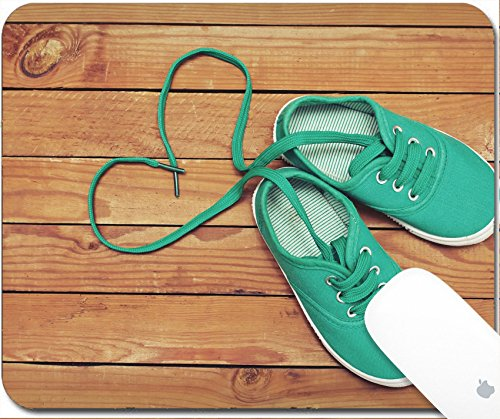Price comparison product image Luxlady Gaming Mousepad 9.25in X 7.25in IMAGE: 26003476 Top view of a pair of shoes with laces making heart shape on wooden floor Heart made of shoelaces