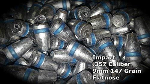 SHTFandGO Impact 100 Qty 9mm/357/45/50 Caliber Air Rifle Bullets Pellets (9mm/357 Rnd Nose/Flat Pt 147g)