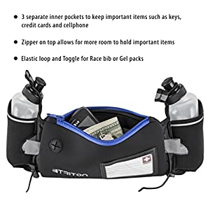 Triton Running Gear Hydration Running Belt with Headphones, 2 BPA Free Water Bottles, ID card and Large Pocket for Plus Size Smartphones, Blue
