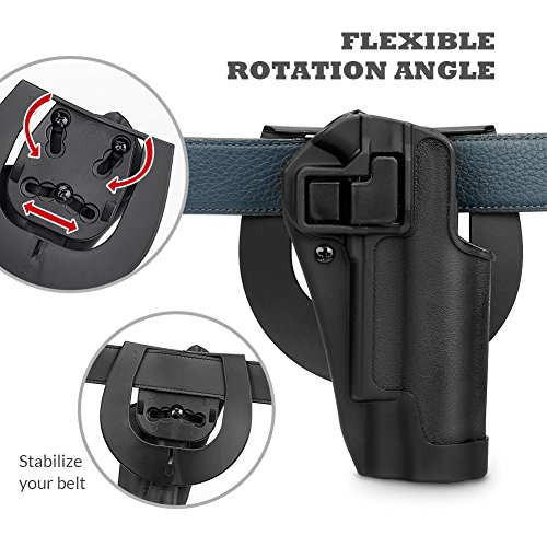 Wear Paddle Holster (Merssyria 1911 Tactical Right Handed Holster, Auto-Lock Active Retention System , Belt Carry Holster- Adjustable Cant & Retention)