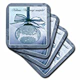 3dRose cst_37017_2 Kellemes Karacsonyi Unnepeket, Merry Christmas in Hungarian, Lace Soft Coasters (Set of 8)
