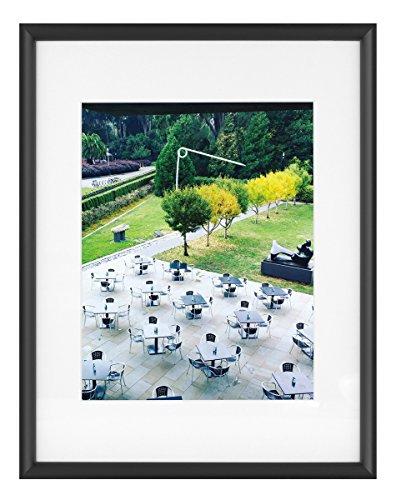 Aluminum Frame Letter - Frametory, 11x14 Black Aluminum Frame - Ivory Mat for 8x10 Picture - Saw Tooth Hangers for Wall Mount - Swivel Tabs - Glass Front - Inner Fillet Edge Design (11x14)