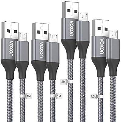 VOXON Cable Micro USB, Cable de Carga 4-Pack [1M* 2, 2M, 1.5M] de ...