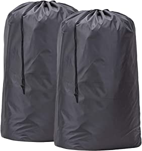 HOMEST 2 Pack Large Nylon Laundry Bag, Machine Washable Large Dirty Clothes Organizer, Easy Fit a Laundry Hamper or Basket, Can Carry Up to 4 Loads of Laundry (Dark Grey)