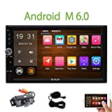 Backup Camera included! Android 6.0 Double Din Car Stereo Radio Receiver with 7 Inch Touch Screen In Dash GPS Navigation Entertainment Audio System with External Mic Support Bluetooth WiFi Mirroring USB SD