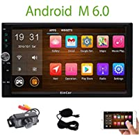 Backup Camera included! Android 6.0 2 Din Car Stereo with 7 Inch Touch Screen In Dash GPS Navigation Entertainment Radio Audio System with External Mic Support Bluetooth WiFi Mirroring USB SD