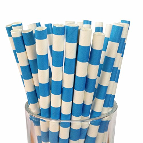 (Free DHL 500 pcs Royal Blue Sailor Stripe Paper Straws Bulk, Horizonal Striped Paper Drinking Straws for Holiday Party, Wedding, Baby Shower, Birthday, Circle Rugby Stripe)