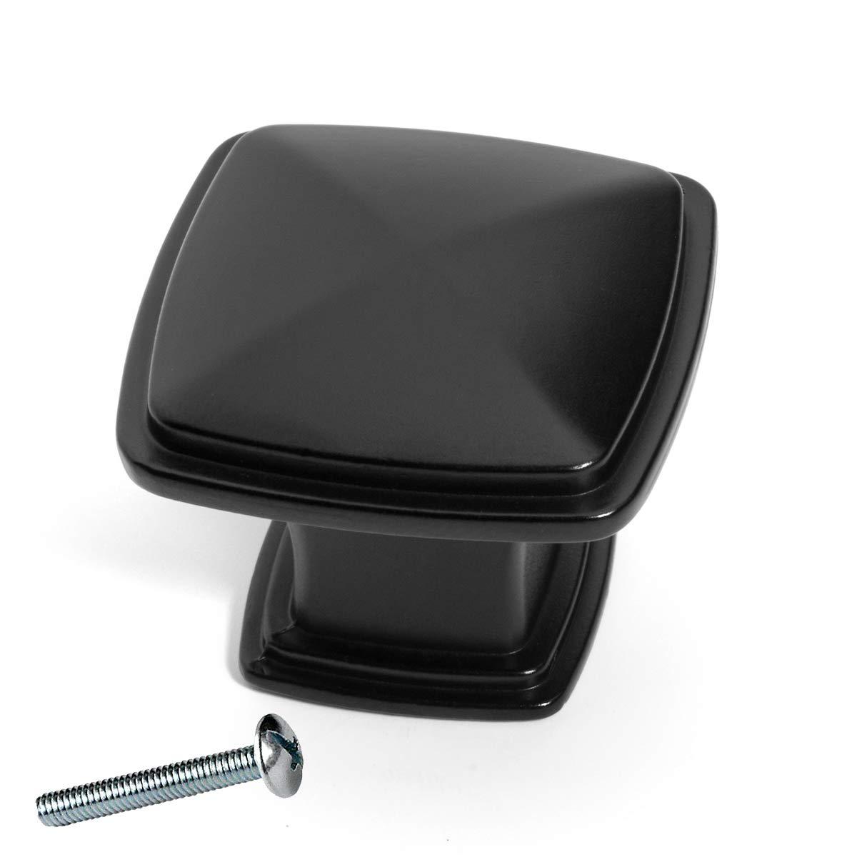 Flat Black Dynasty Hardware K-81091-FB-25PK Cabinet Hardware 1-1//4-Inch Square Knob 25-Pack