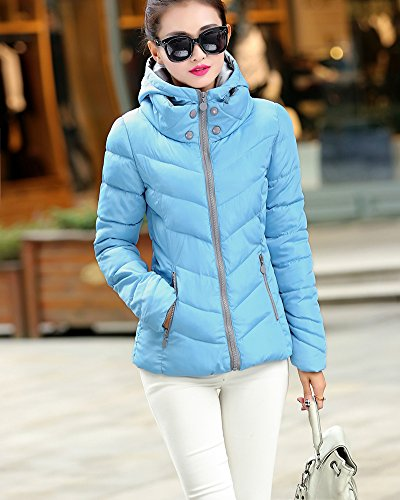 Alto Femminile Esterno Ultra Breve Leggero Cihui In Forma Piumino Sottile Collo Blu Incappucciato Cappotto SqFEzw
